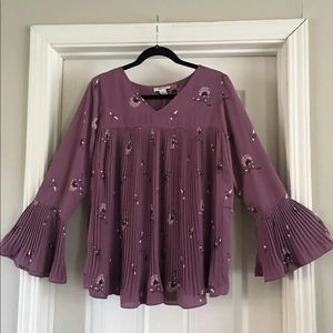 Tops - Purple pleated swing top size small